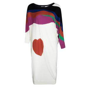 Alexander McQueen Multicolor Heart Intarsia Wool Dolman Sleeve Tunic Dress L