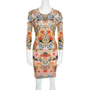 Alexander McQueen Floral Printed  Jersey Cutout Sleeve Detail Bodycon Dress S