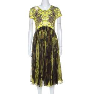 McQ by Alexander McQueen Yellow & Brown Digital Print Jersey & Silk Dress XL