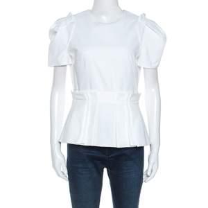 Alexander McQueen White Pique Cotton Short Sleeve Peplum Top M