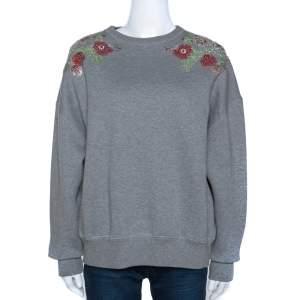 Alexander McQueen Grey Fleece Lined Cotton Poppy Sequined Sweatshirt S