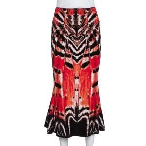 Alexander McQueen Red Abstract Pattern Silk Knit Flounce Skirt S