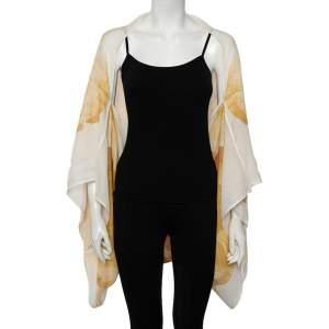 Alexander McQueen Yellow Poppy Printed Silk Oversized Draped Shrug (Free Size)