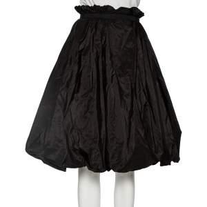 Alexander McQueen Black Silk Taffeta Bubble Midi Skirt S