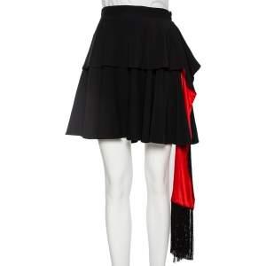 Alexander McQueen Black Crepe & Silk Ruffled Mini Skirt S