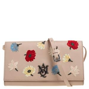 Alexander McQueen Beige Leather Insignia Crossbody Bag