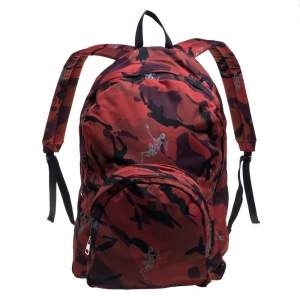 Alexander McQueen Red Camo Nylon Dancing Skeleton Backpack