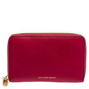 Alexander McQueen Fuchsia Leather Zip Around Wallet