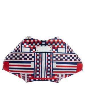 حقيبة كلتش أليكساندر ماكوين طباعة هندسة دو مانتا ساتان متعدد الألوان