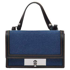 Alexander McQueen Blue Canvas Skull Lock Small Bag
