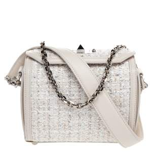 Alexander McQueen White Leather and Tweed Box 19 Crosssbody Bag