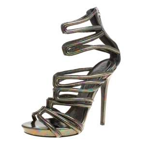 Alexander McQueen Multicolor Oil Slick Texture Leather Gladiator Sandals Size 39