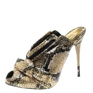 Alexander McQueen Metallic Gold Python Embossed Leather Bow Detail V Neck Peep Toe Mules Size 38.5