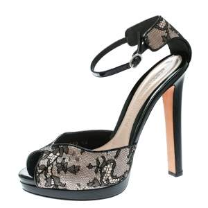 Alexander McQueen Black Lace Peep Toe Ankle Strap Sandals Size 40
