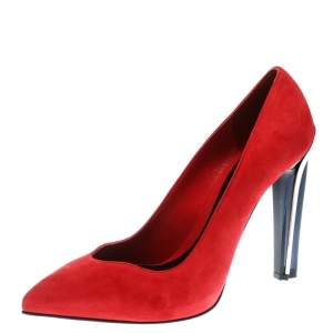 Alexander McQueen Red Suede Pointed Toe Pumps Size 39