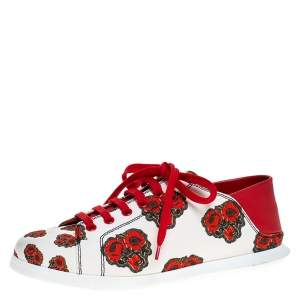 Alexander McQueen White/Red Leather And Floral Canvas Low Top Sneakers Size 38