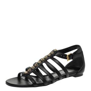 Alexander McQueen Black Leather Spike Detail Flat Gladiator Sandals Size 37.5