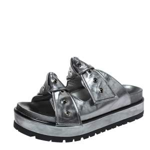 Alexander McQueen Metallic Grey Leather Birkenstock Rivet Bow Tie Slide Sandals Size 38.5