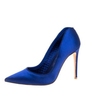 Alexander McQueen Electric Blue Satin Heart Pointed Toe Pumps Size 37
