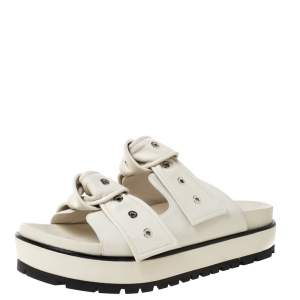 Alexander McQueen White Leather Birkenstock Rivet Bow Tie Slide Sandals Size 41