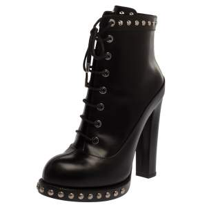 Alexander McQueen Black Leather Studded Platform Block Heel Ankle Boots Size 38