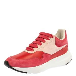 Alexander McQueen Red/Pink Suede Leather Low Top Sneakers Size 40
