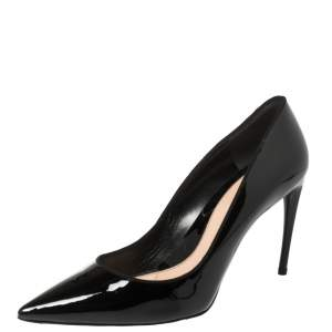 Alexander McQueen Black Patent Leather Pointed Toe Pumps Size 41