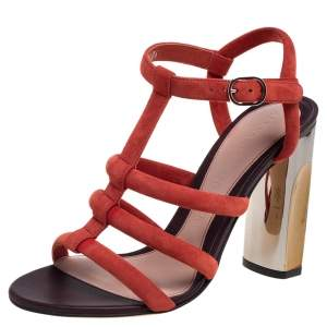Alexander McQueen Red Suede Block Heel Strappy Sandals Size 36