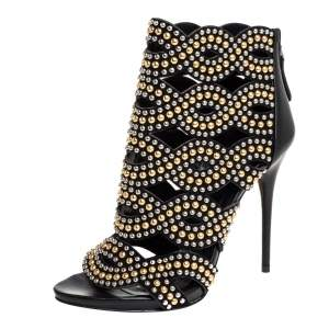 Alexander McQueen Black Leather Studded Peep Toe Ankle Boots Size 36
