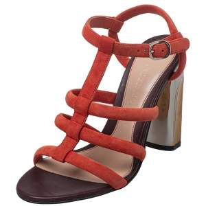 Alexander McQueen Red Suede Open Toe Ankle Strap Sandals Size 36