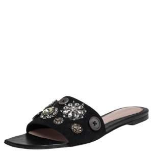 Alexander McQueen Black Suede Crystal Embellished Flats Size 37