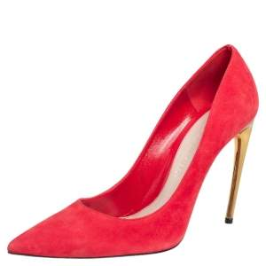 Alexander McQueen Red Suede Pointed Toe Pumps Size 41