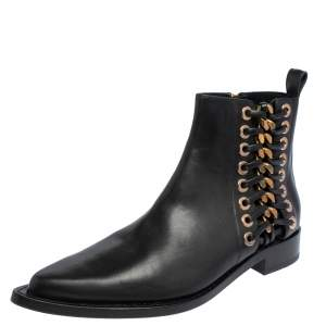 Alexander McQueen Black Leather Braided Chain Ankle Boots Size 37