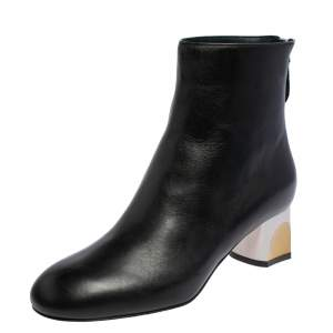 Alexander McQueen Black Leather Sculpted Heel Ankle Boots Size 37