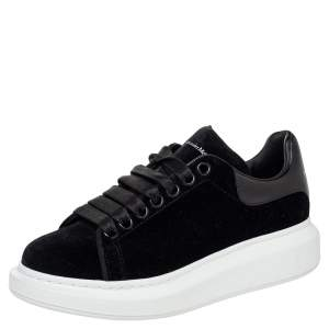 Alexander McQueen Black Velvet And Leather Oversized Low Top Sneakers Size 37.5