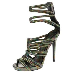 Alexander McQueen Multicolor Iridescent Leather Cage Sandals Size 40