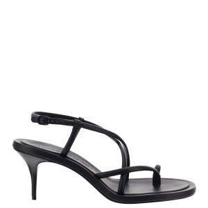 Alexander McQueen Black Leather Strappy Sandals Size EU 39