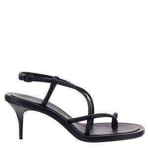 Alexander Mcqueen Black Leather Strappy Sandals Size 39 IT