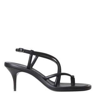 Alexander McQueen Black Leather Strappy Sandals Size IT 37