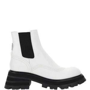 Alexander McQueen White//Black Wander Chelsea Boots Size IT 39