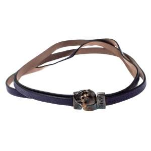Alexander McQueen Purple Triple Strand Leather Skull Choker Necklace