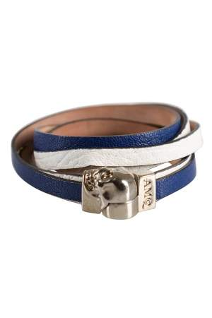 Alexander McQueen Blue & White Leather Magnetic Skull Wrap Around Bracelet