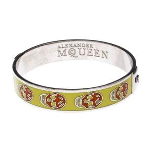 Alexander McQueen Yellow Resin Skull Enamel Silver Tone Bangle Bracelet