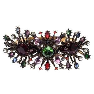 Alexander McQueen Multicolor Crystal Gold Tone Cuff Bracelet M