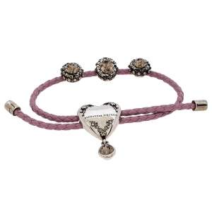 Alexander McQueen Lavender Braided Leather Heart Charm Friendship Bracelet