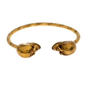 Alexander McQueen Crystal Twin Skull Textured Gold Tone Open Cuff Bracelet