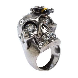 Alexander McQueen Bee Crystal Studded Skull Silver Tone Ring Size 52