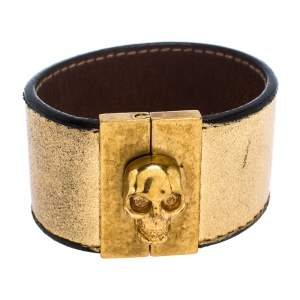 Alexander McQueen Gated Skull Gold Tone Leather Wide Bracelet