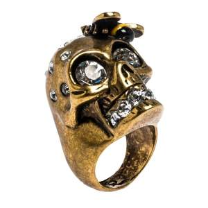 Alexander McQueen Gold Tone Crystal Skull and Bee Cocktail Ring Size EU 54.5