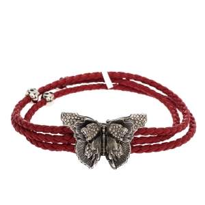 Alexander McQueen Crystal Butterfly Charm Red Braided Leather Layered Bracelet